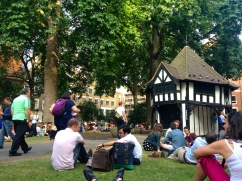 Chilling out in Soho Square, waiting for Courtney.