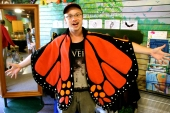 Glen as a butterfly. They had these costumes set up for kids to put on at the visitors' centre.