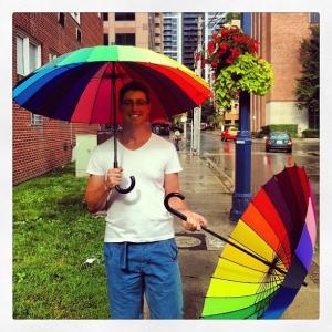 Meeting Glen with umbrellas. Extra boyfriend points.