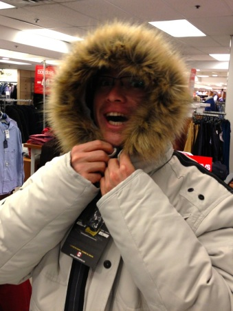 Glen trying on jackets.