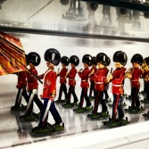 There was a bit display of figurines on one of the walls in the stairwell.
