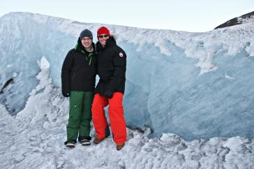 Us beside the bit of glacier we licked