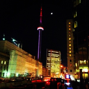 The moon and the CN Tower