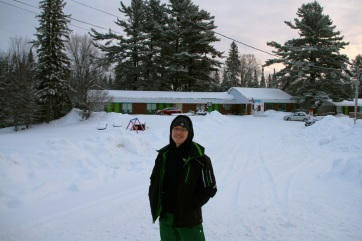 Glen in front of the motel.