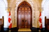 Central door leading into the House of Commons.