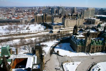 View from the Peace Tower to Chateau Laurier