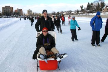 A sleigh on the canal: the only way to go