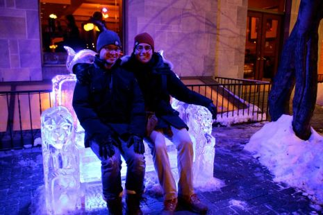 Glen and I on an ice chair outside Chateau Laurier