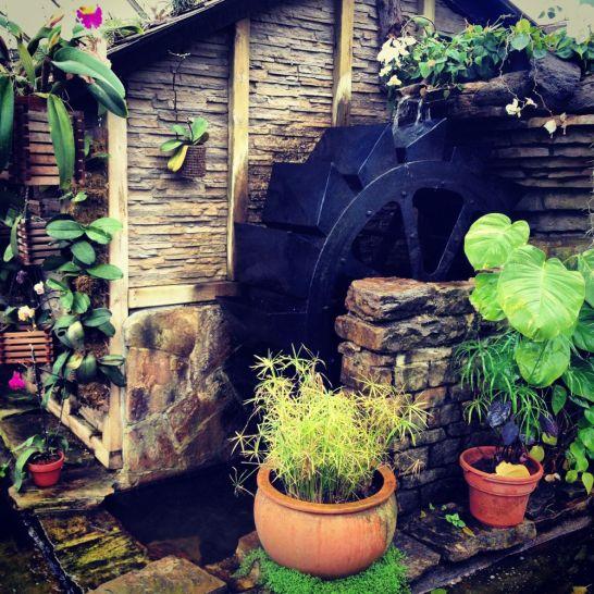 Waterwheel inside a greenhouse