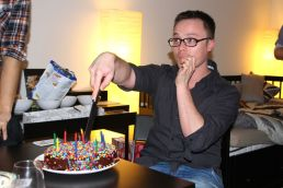 Glen and his multi-coloured (and delicious) birthday cake