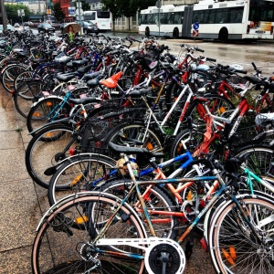 Bicycles stacked outside Salzburg train station