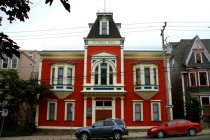 One of the many pretty coloured buildings in St John's