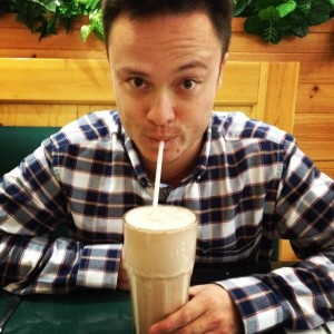 Glen with a giant milkshake at Anchor Cafe