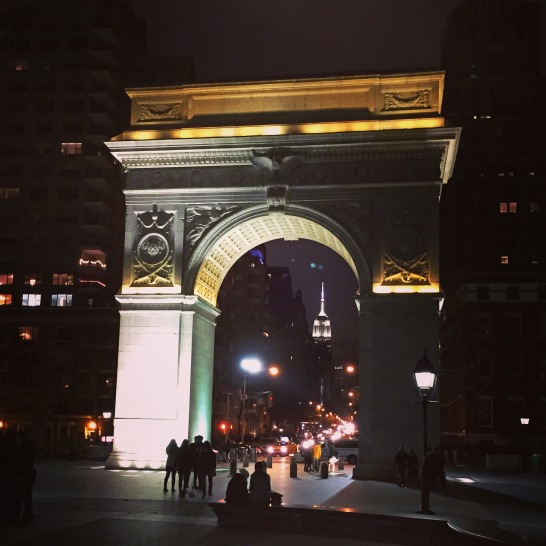 Washington Square Memorial with Empire State Building through the arch.