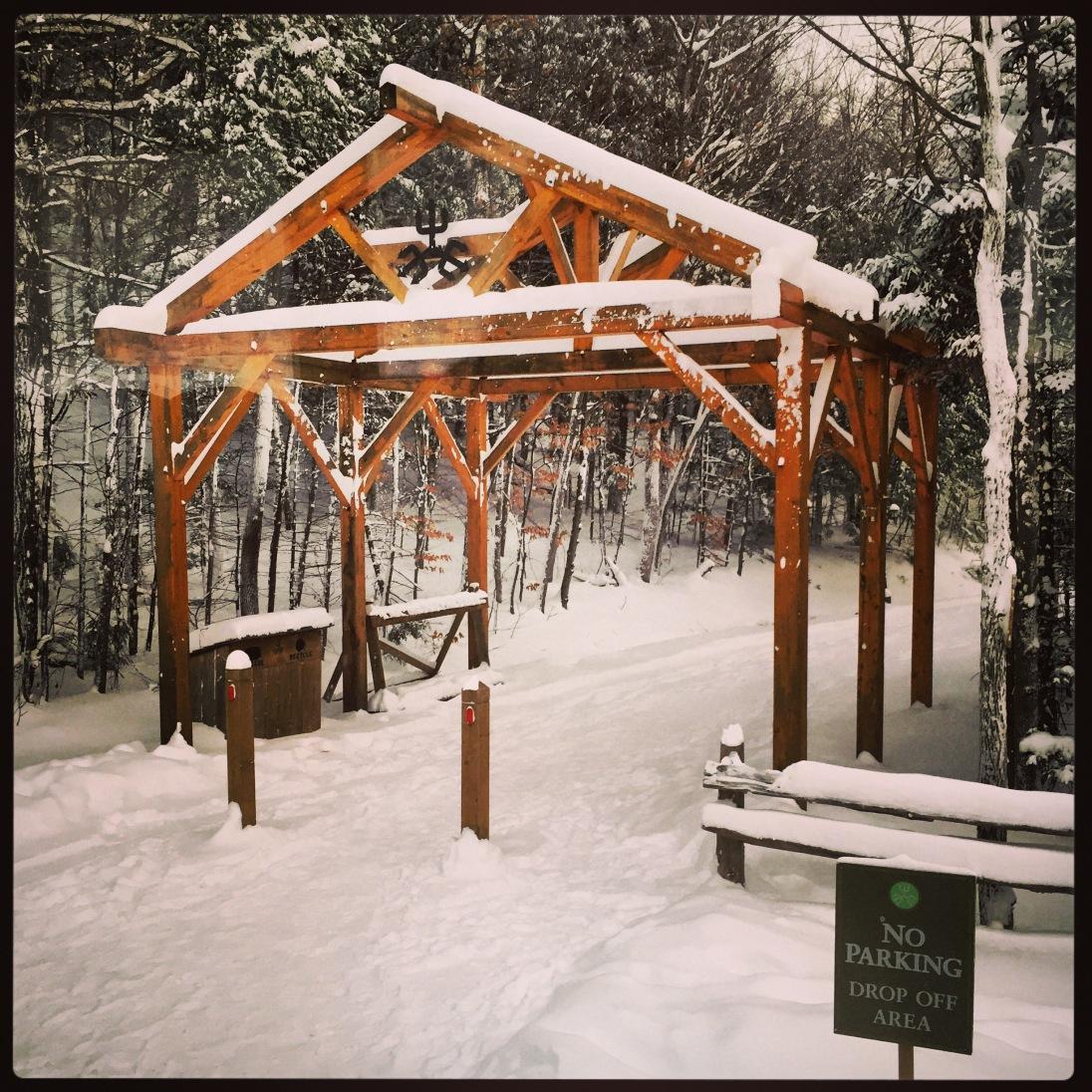 Snow-covered entry to Devil's Glen
