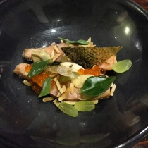 Salmon, roe and mussels