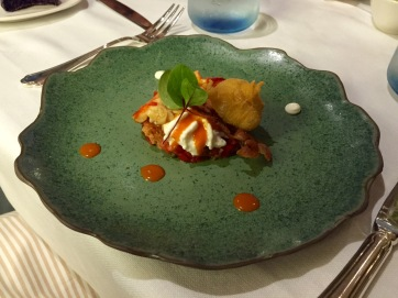 Steamed lobster with local crisp bread and buffalo burrata cheese