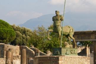 A modern art sculpture in ancient Pompeii