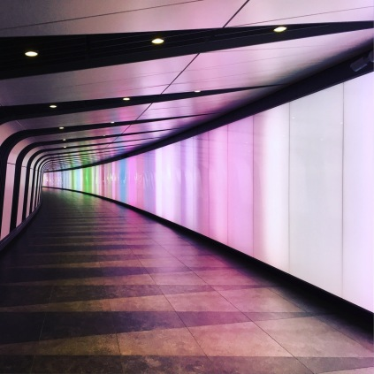 The walkway out of Kings Cross Station